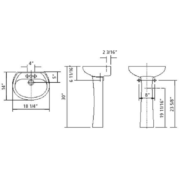 Cheviot Fiore Pedestal Bathroom Sink - 18-1/4-in x 14-in x 30-in - White