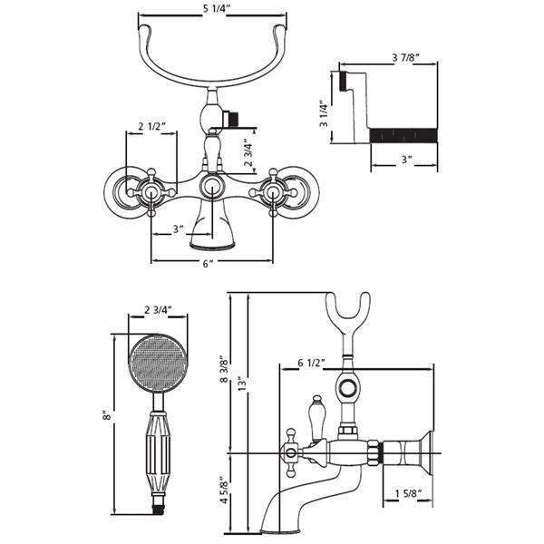 Cheviot Tub/Wall Mount Faucet for Clawfoot Bathtub - Chrome