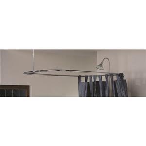 Cheviot Rectangular Curtain Frame Shower Rod - Antique Chrome