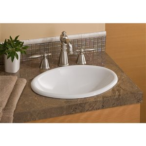 Cheviot Mini Drop-In or Undermount Bathroom Sink - 17.13-in - White