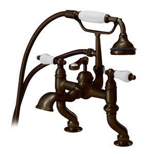 Cheviot Rim Mount Bathtub Filler with Hand Shower - Antique Bronze