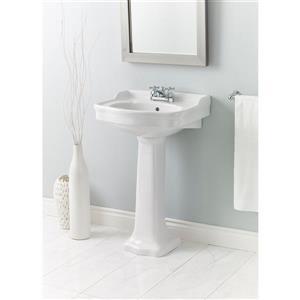 "Cheviot Antique Pedestal Bathroom Sink - 22 1/2"" x 18 1/2"" - White"