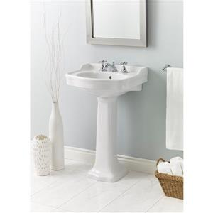"Cheviot Antique Pedestal Bathroom Sink - 22 1/2"" x 18 1/2"" - White"