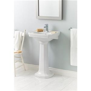 "Cheviot Mayfair Pedestal Bathroom Sink - 20"" x 16"" - White"
