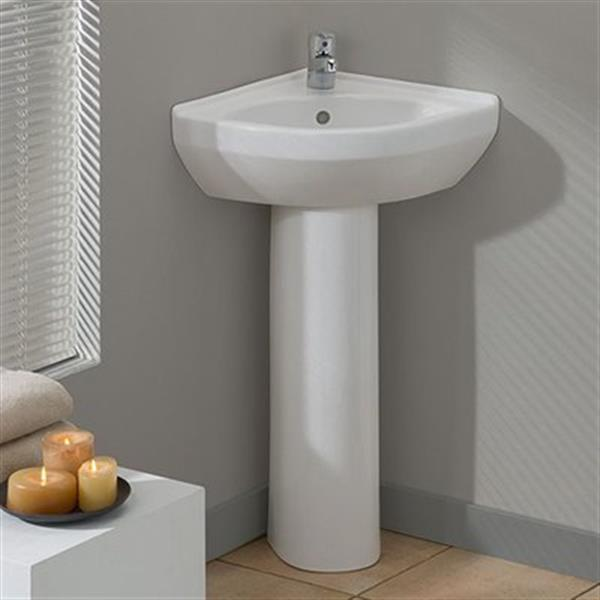 Cheviot Petite Corner Pedestal Bathroom Sink - White