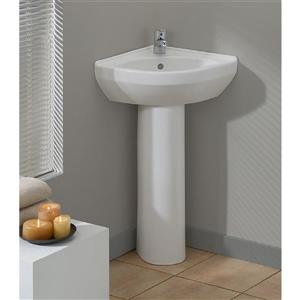Cheviot Petite Corner Pedestal Bathroom Sink - White