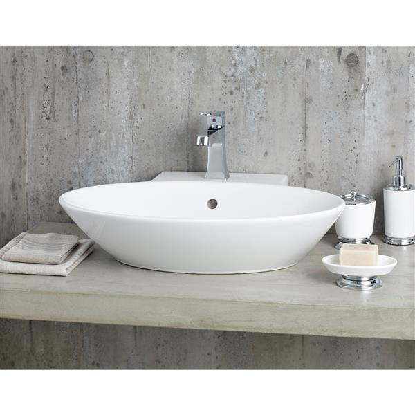 Cheviot Geo Vessel Sink with Faucet Deck - White