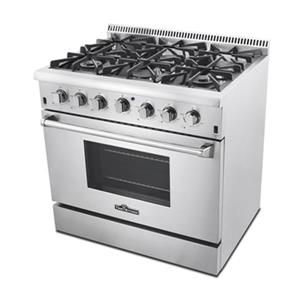 Thor Kitchen 36-in 5.2 cubic ft 6-Element Professional Stain Steel Gas Range with Convection Oven (Stainless Steel)