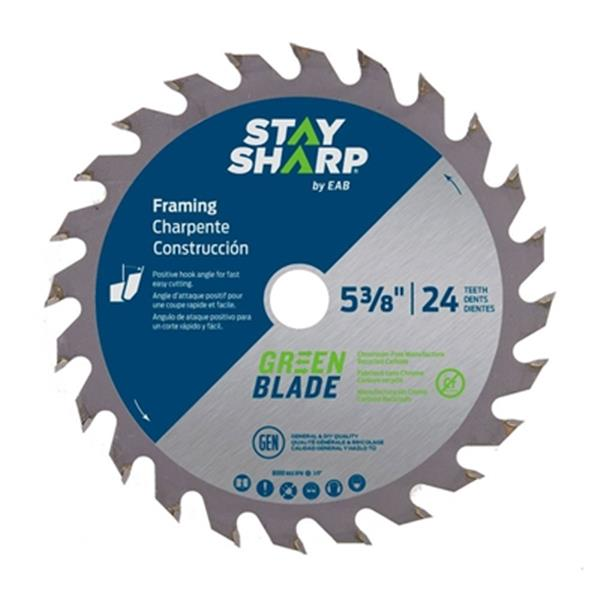 EAB Tool Co. 5 3/8-in 24-Tooth Carbide Green Framing Saw Bla