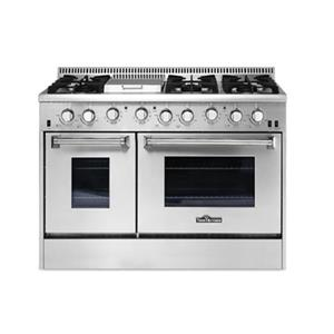 Thor Kitchen 48-in 4.2/2.5 cubic ft Professional Burner Gas Range with Griddle and Convection Oven(Stainless Steel)