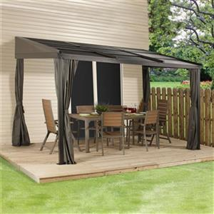 Sojag Francfort Wall-Mounted Sun Shelter - 10-ft x 12-ft - Black