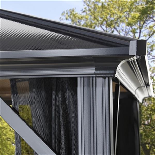 Abri-soleil avec moustiquaire Meridien, 16' x 12', noir