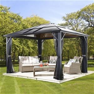 Sojag Meridien Hardtop Gazebo with Netting - 16-ft x 12-ft - Black