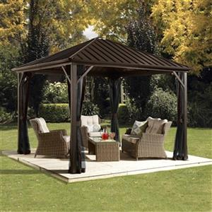 Sojag Dakota Hardtop Gazebo with Netting - 12-ft x10-ft - Brown