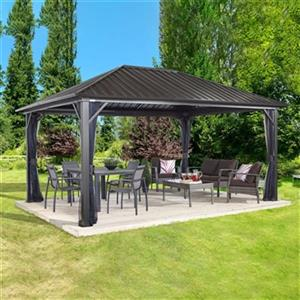 Sojag Genova Hardtop Gazebo with Netting - 16-ft x 12-ft - Brown