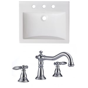 "American Imaginations Omni Ceramic Top Set - Single Sink - 21"" - White"
