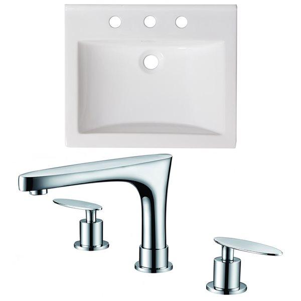"American Imaginations Omni Ceramic Top Set - Single Sink - 21"" - White"