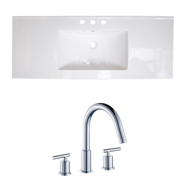 "American Imaginations Ceramic Top Set - Single Sink - 39.75"" - White"