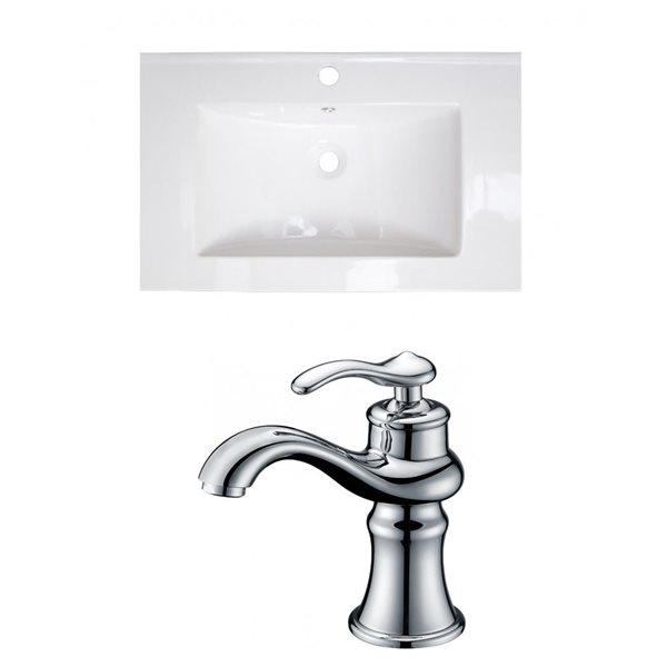 "American Imaginations Vee Ceramic Top Set - Single Sink - 21"" - White"