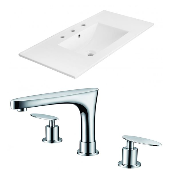 "American Imaginations Xena Ceramic Top Set - Single Sink - 35.5"" - White"