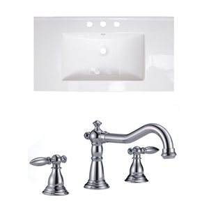 "American Imaginations Drake Ceramic Top Set - Single Sink - 35.5"" - White"