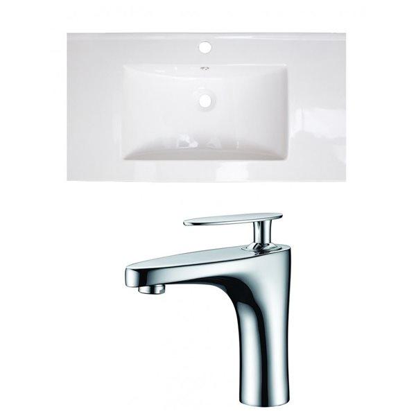 "American Imaginations Drake Ceramic Top Set - Single Sink - 35.5"" - White"