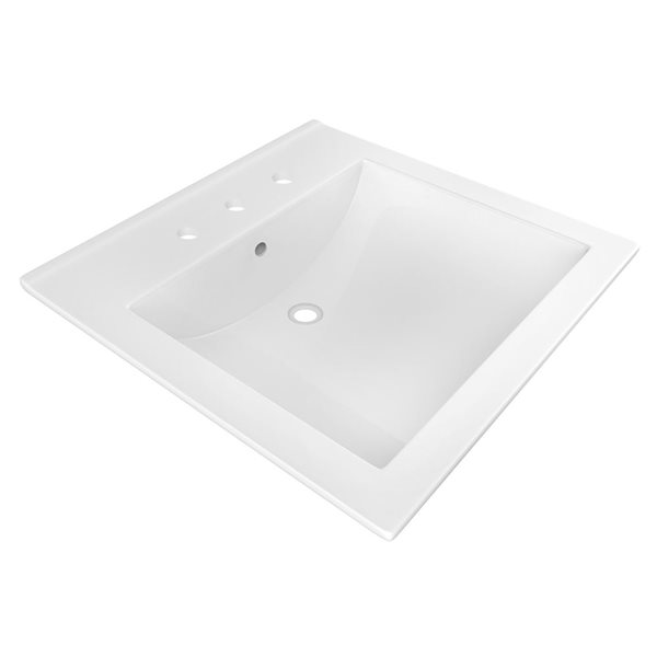 "American Imaginations Ceramic Top Set - Single Sink - 21.5"" - White"