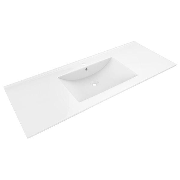 "American Imaginations Alum Ceramic Top Set - Single Sink - 48"" - White"