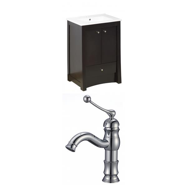 """American Imaginations Elite Vanity Set  - Single Sink - 23.75"""" - Brown"""