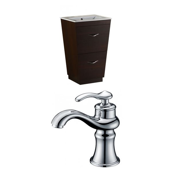 "American Imaginations Vee Vanity Set  - Single Sink - 21"" - Brown"