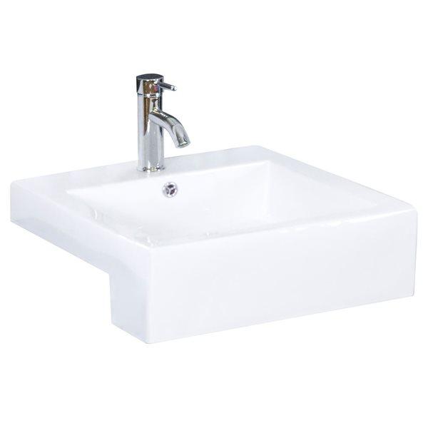 """Vasque semi-encastrée pour 1 trou, 20,25"""", blanc"""
