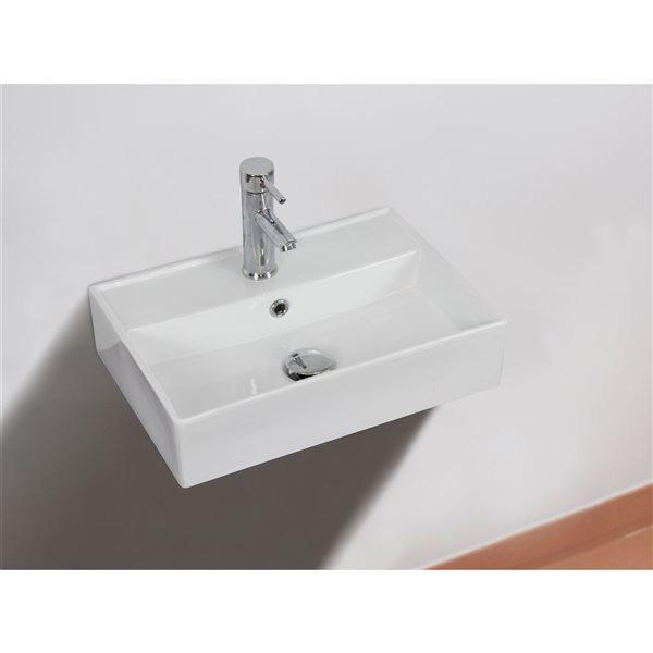 """Vasque murale pour 1 trou, 19,75"""", blanc"""