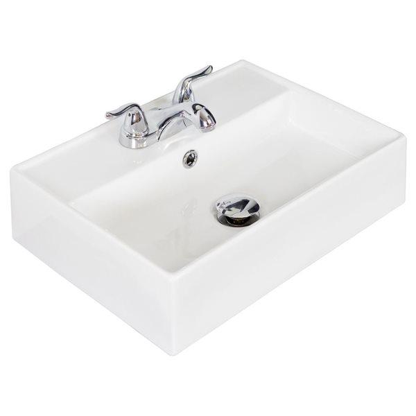 """Vasque avec trop-plein pour 3H4 po, 19,75"""", blanc"""