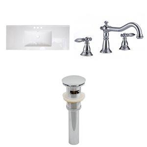 "American Imaginations Roxy Ceramic Top Set - Single Sink - 48"" - White"