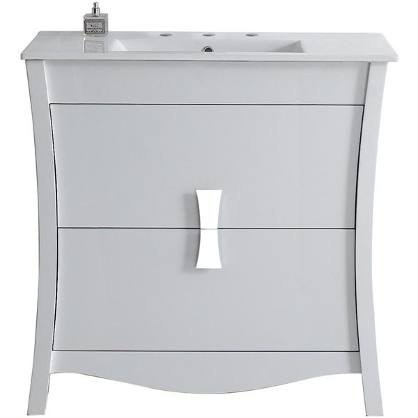 "American Imaginations Bow Vanity Set  - Single Sink - 35.5"" - White"