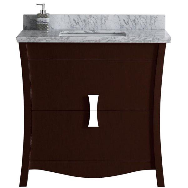 """American Imaginations Bow Vanity Set  - Single Sink - 36"""" - Brown"""