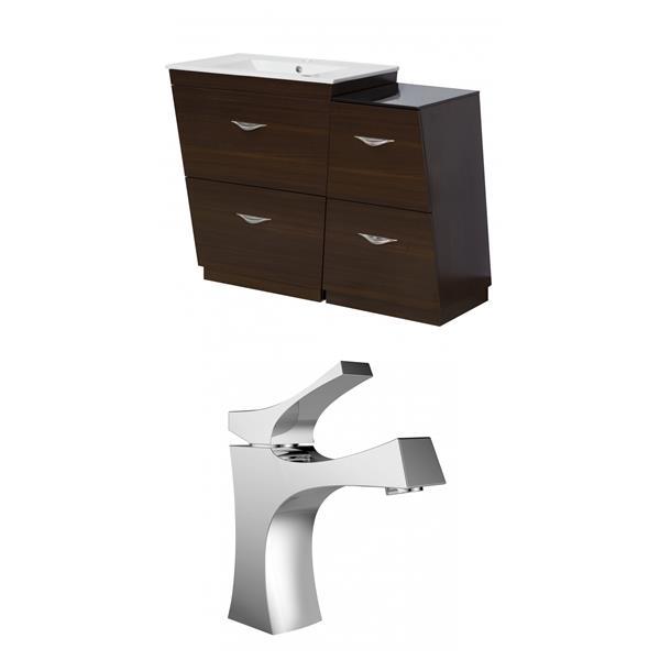 """American Imaginations Vee Vanity Set  - Single Sink - 49.5"""" - Brown"""