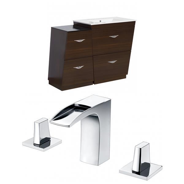 """American Imaginations Vee Vanity Set  - Single Sink - 43.25"""" - Brown"""