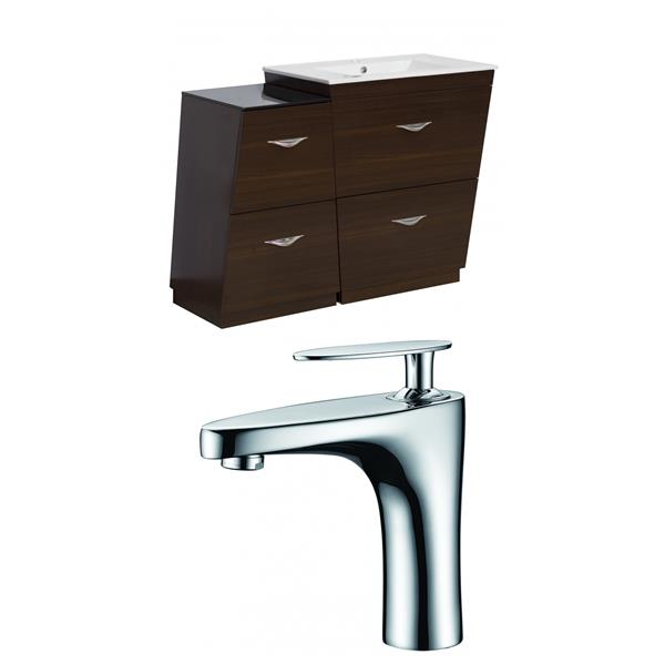 "American Imaginations Vee Vanity Set  - Single Sink - 37.75"" - Brown"