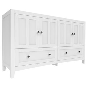 American Imaginations Shaker 60-in White Bathroom Vanity Cabinet