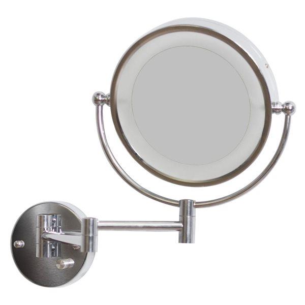 """Miroir grossisant, 20,83"""" x 14,57"""", métal, chrome"""