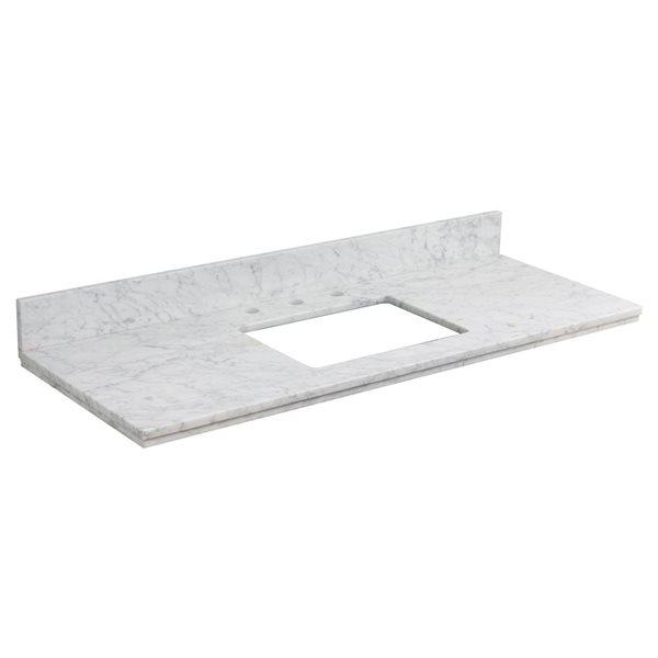 "Dessus en marbre Elite, 47,6"" x 18,25"", blanc"