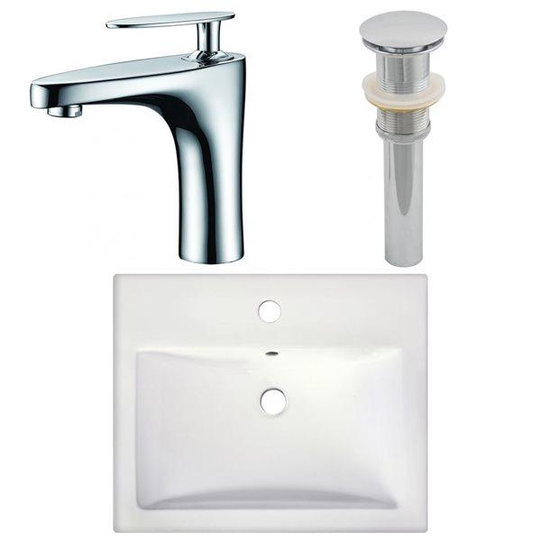 "Ens. vasque semi-encastrée, 20,75"" x 29,5"", blanc"