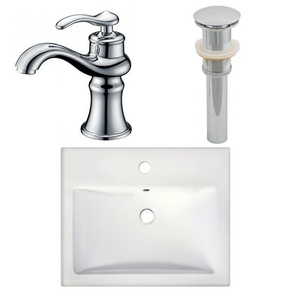 "Ens. vasque semi-encastrée, 20,75"" x 30,5"", blanc"