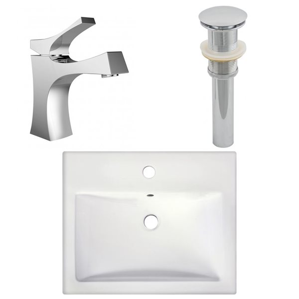 "Ens. vasque semi-encastrée, 20,75"" x 30"", blanc"