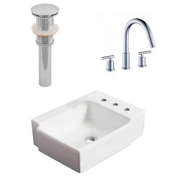 "Ensemble de vasque, 16,25"" x 30"", blanc"