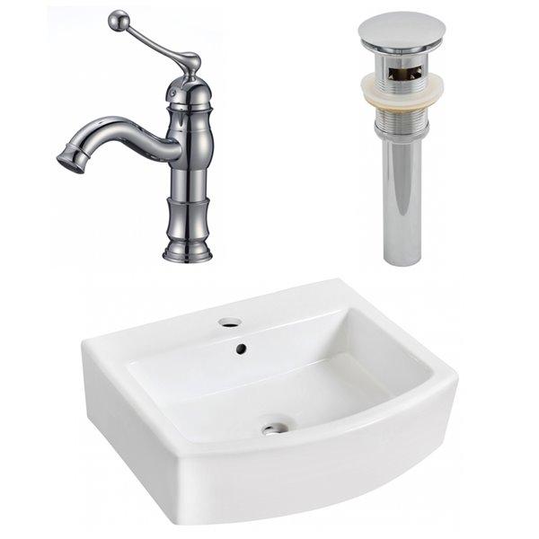 "Ensemble de vasque, 22,25"" x 45"", blanc"