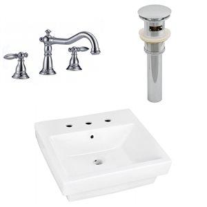 "Ens. vasque semi-encastrée, 20,5"" x 30,5"", blanc"