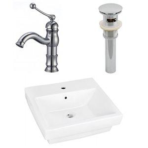 "Ens. vasque semi-encastrée, 20,5"" x 30"", blanc"
