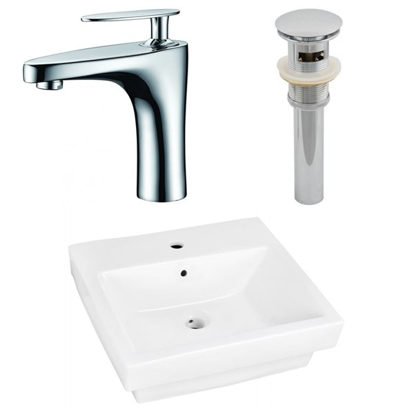 "Ens. vasque semi-encastrée, 20,5"" x 29,5"", blanc"